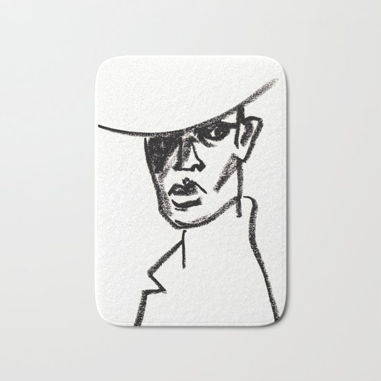 girl with hat Bath Mat