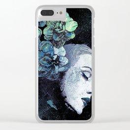 Obey Me: Blue (graffiti flower woman portrait) Clear iPhone Case