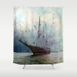 fernweh for distant lands [expedition to Galapagos] v2 Shower Curtain