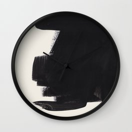 Mid Century Modern Minimalist Abstract Art Brush Strokes Black & White Ink Art Colorfield Wall Clock