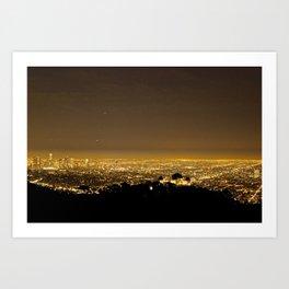 Golden City Black Lights, Los Angeles Art Print