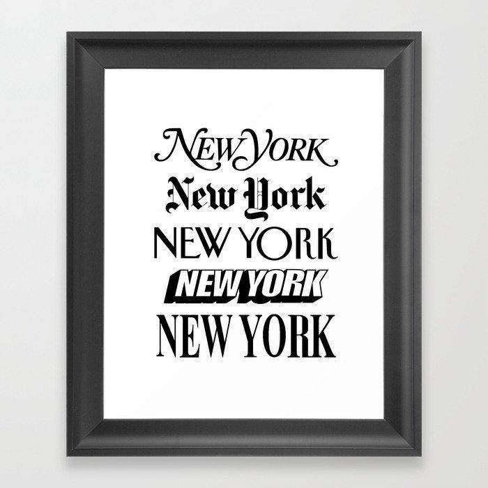 I Heart New York City Black and White New York Poster I Love NYC Design black-white home wall decor Gerahmter Kunstdruck