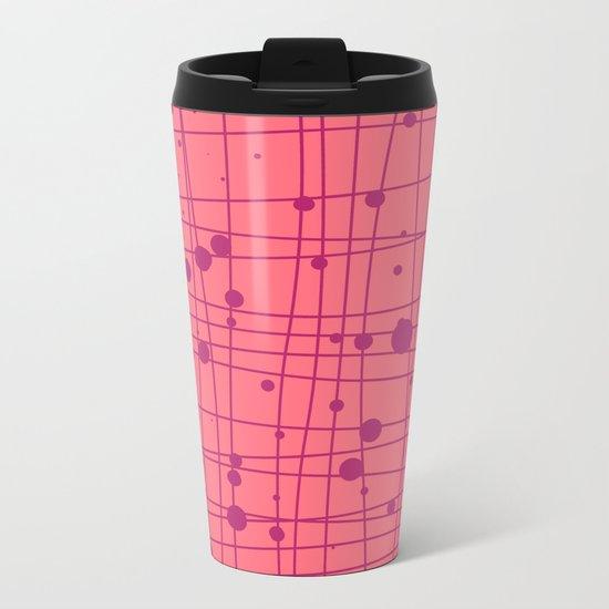 Woven Web pink Metal Travel Mug