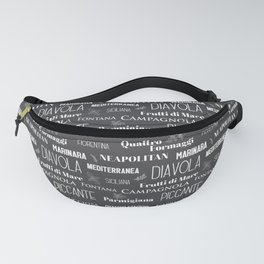 Italian Restaurant Pizza Names Typographic Pattern Fanny Pack