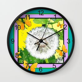 Teal- Lilac Yellow Butterflies Dandelion Puff Ball Abstract Wall Clock