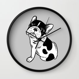 Brindle Pied Frenchie Puppy Wall Clock