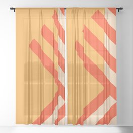 GEOMETRY ORANGE II Sheer Curtain