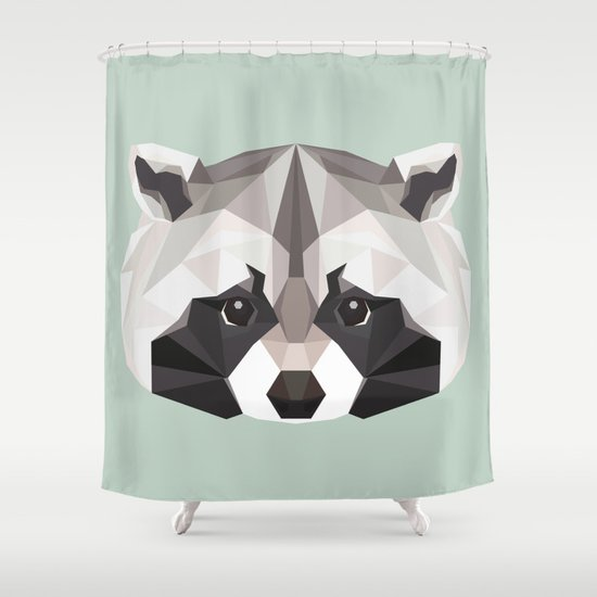R is for Raccoon Shower Curtain