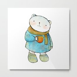 Cute Polar bear Illustration Metal Print
