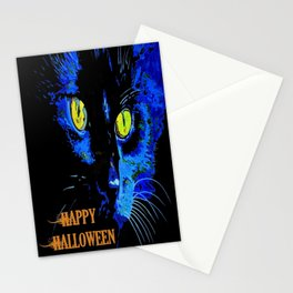Black Cat Portrait with Happy Halloween Greeting  Stationery Cards