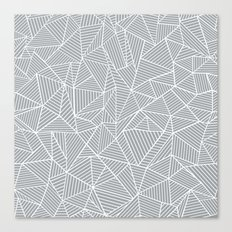 Abstract Lines 2 White on Grey Canvas Print