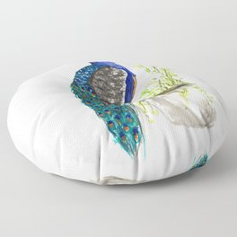 Peacock on Planter Floor Pillow