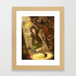Puppet and banana Framed Art Print