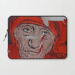 Mother Teresa crying a warning Laptop Sleeve