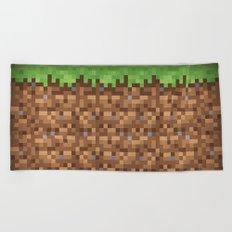 Minecraft Dirt Block Beach Towel
