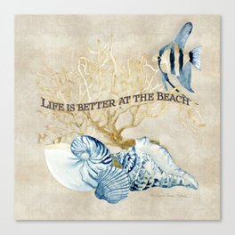 Indigo Ocean Sea Shells Angelfish Coral Watercolor Artwork Canvas Print