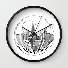 the city of New York in a suspended bowl Wall Clock