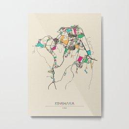Colorful City Maps: Kinshasa, Congo Metal Print