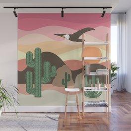 Flying Eagle in Desert Sunset Wall Mural