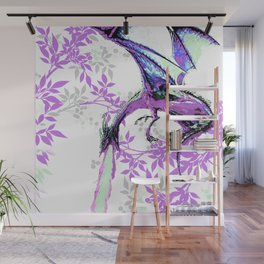 DRAGON AND PURPLE LEAVES Wall Mural