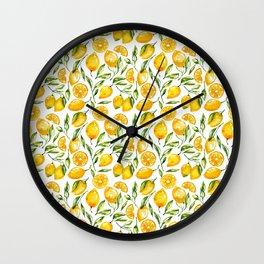 sunny lemons print Wall Clock