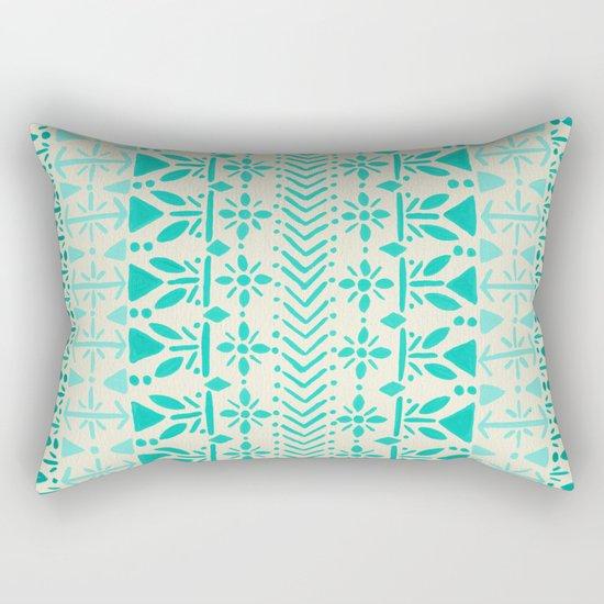 Norwegian Pattern – Aqua on White Rectangular Pillow