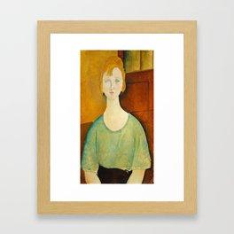 Amedeo Modigliani, Girl in a green blouse, 1917 Framed Art Print