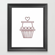 Cupcake Heart Framed Art Print