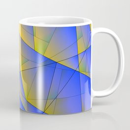 Bright fragments of crystals on irregularly shaped yellow and blue triangles. Coffee Mug