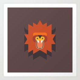 Geometric Lion Head Art Print