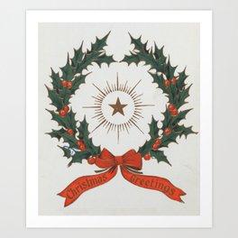 Vintage Christmas Greetings Wreath (1906) Art Print