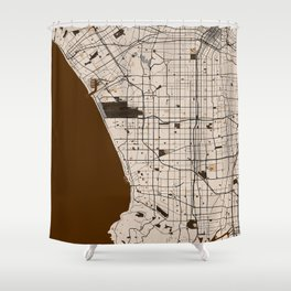 Los Angeles Street Map // Brown Theme Shower Curtain