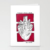 house of cards Stationery Cards featuring House of Cards in Red  by Art by Alexandra