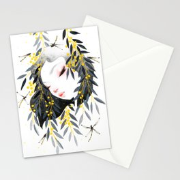 Thoughts of Spring in Black and Gold Stationery Cards