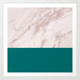 Real Rose Gold Marble and Biscay Bay Art Print