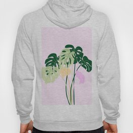 monstera plant on pink background Hoody