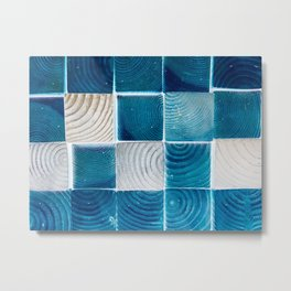 blue and white wood square pattern abstract background Metal Print