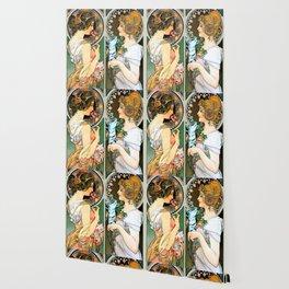 "Alphonse Mucha ""Primrose and Feather"" Wallpaper"