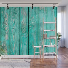 Shabby Chic Turquoise Fence Panel Repeat Pattern Wall Mural