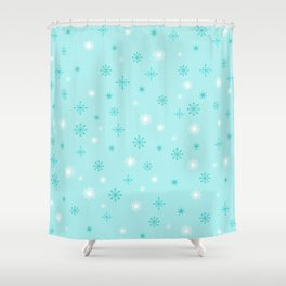 AFE Turquoise Snowflakes Shower Curtain