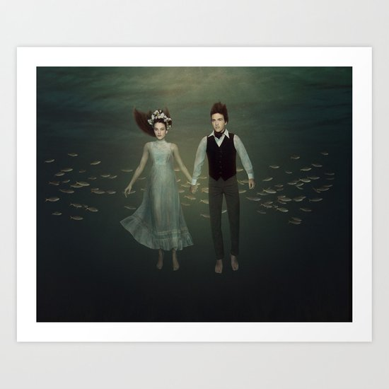 Underwater Couple Art Print