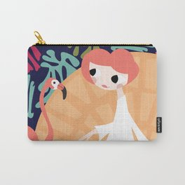 Girl with flamingo and Henri Matisse inspired decoration, vector illustration, blue Carry-All Pouch