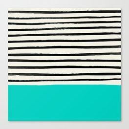 Aqua & Stripes Canvas Print