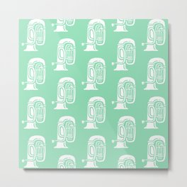 Tuba Pattern Mint Green Metal Print