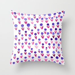 Dot flowers - pink and purple Throw Pillow