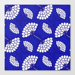 African Floral Motif on Royal Blue Canvas Print