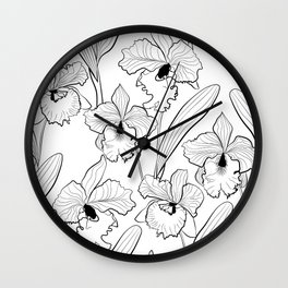White black Orchid #Orchid #Orchid flowers Wall Clock