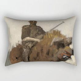 Hunter riding a boar Rectangular Pillow