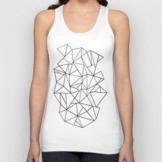 Abstract Outline Black on White Unisex Tank Top