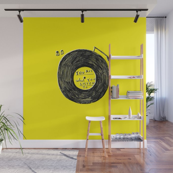 you are what you listen to FULL YELLOW Wall Mural